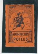 France WWI Honneur Aux Poilus Soldier - Orange Vignette Cinderella Poster Stamp - Unclassified