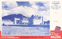 """Buvard """" Pile Mazda """" Château De Villandry ( Pliures, Rousseurs 20,5 X 13,5 Cm ) - Piles"""