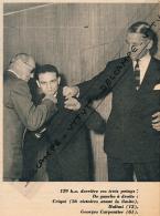BOXE : PHOTO, EUGENE CRIQUI, ALPHONSE HALIMI, GEORGES CARPENTIER, 129 KO DERRIERE CES 3 POINGS, COUPURE REVUE (1957) - Boxe
