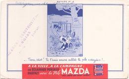 """Buvard """" Pile Mazda """"  ( Pliures, Rousseurs, écritures, Déchirures 21 X 13,5 Cm ) - Accumulators"""