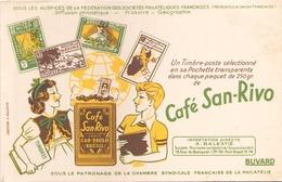 "Buvard "" Café San-Rivo "" ( Pliures, Rousseurs, 21 X 14 Cm ) - Coffee & Tea"