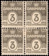 ~~~ Denmark 1905 - Coat Of Arms Perf 12.75 Great Block/4 - Mi. 44 A * MH OG  - CV 24 € ++ ~~~ - 1905-12 (Frederik VIII)