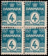 ~~~ Denmark 1905 - Coat Of Arms Perf 12.75 Great Block/4 - Mi. 45 A * MH OG  - CV 22 € ++ ~~~ - 1905-12 (Frederik VIII)