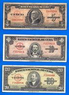 Lot Cuba 5 10 20 Pesos 1949 Peso Centavos Kuba Paypal Skrill Bitcoin OK - Cuba