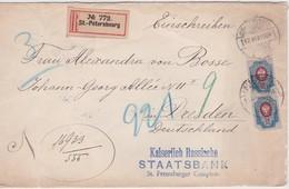 RUSSIE 1904 LETTRE RECOMMANDEE DE ST.PETERSBOURG AVEC CACHET ARRIVEE DRESDEN - 1857-1916 Empire