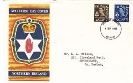 Great Britain FDC 1968 Northern Ireland Scott #8, #10 Definitives Posted To Co. Durham - 1952-1971 Em. Prédécimales