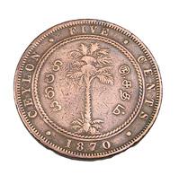 5 Cent - Ceylan - Victoria - 1870 - Cuivre - TB + - - Sri Lanka