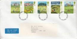 Great Britain FDC Scott #1567-#1571 Set Of 5 Golf Courses - 250th Anniv Honourable Company Of Edinburgh Golfers - FDC