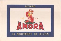 "Buvard "" Moutarde Amora "" ( Pliures, Taches,rousseurs 21 X 13,5 Cm ) - Mostard"