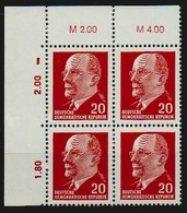 DDR 1961 Michel Nr. 848 Xx Fb **, Walter Ulbricht, Eckrand 4-er Block (Michel 139,-€) - [6] République Démocratique