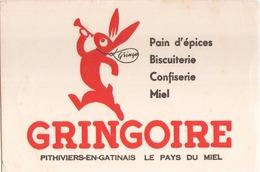 """Buvard """" Pain D'épices Gringoire """" ( Pliures, Rousseurs, 21 X 13,5 Cm ) - Pain D'épices"""