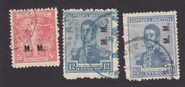 Argentina, Scott #OD253-OD255, Used, Regular Issues Overprinted, Issued 1913-37 - Officials