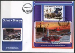 Guinea Bissau 2017 New Arctic Military Base Of Russia Helicopter Ships S/S FDC GB17710 - Transports