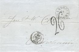 1858- Lettre En Port Du De CAEN  Pour Christiana ( Norvège )  TAXE RARE 26 Tampon + SANDOSUND - 1849-1876: Classic Period
