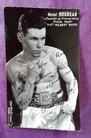 PHOTO BOXE DEDICACEE, Michel HOUDEAU Champion De France 1962.63, Poids Léger, Profs MILBERT BUGES - Boxing