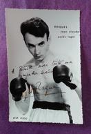 PHOTO BOXE DEDICACEE,ROQUES Jean-Claude, Poids Léger, Prof. RIOU - Boxe