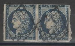 France - YT 4h - 25c Bleu-noir Paire Oblitérée Grilles - 1849-1850 Cérès