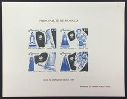 """MONACO Bloc N° 42 """"Jeux Olympiques D'été - Séoul 1988"""" Non Dentelé Essai Imperf Color Proof, Superbe ** Et RARE ! - Monaco"""