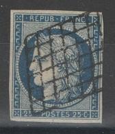 France - YT 4a - 25c Bleu Foncé Oblitéré Grille - 1849-1850 Cérès