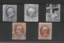 ETAT UNIS ANS 1870-1882 BENJAMIN FRANKLIN ET ANDREW JACKSON YVERT TELLIERS NRS. 39 ET 40 OBLITERES LOTE LOT - 1847-99 Algemene Uitgaves