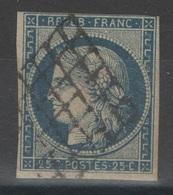 France - YT 4b - 25c Bleu Sur Jaune Oblitéré Grille - 1849-1850 Cérès
