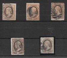ETAT UNIS ANS 1870-1882 THOMAS JEFFERSON YVERT TELLIER NR. 44 OBLITERE X 5 TIMBRES ETUDE D'OBLITERATIONS - 1847-99 Algemene Uitgaves