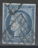 France - YT 4 - 25c Bleu Oblitéré Grille - 1849-1850 Cérès