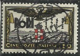 EGEO 1932 VENTENNALE DELL'OCCUPAZIONE E DECENNALE FASCISTA CENT. 20c USATO USED OBLITERE' - Egée