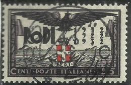 EGEO 1932 VENTENNALE DELL'OCCUPAZIONE E DECENNALE FASCISTA CENT. 25c USATO USED OBLITERE' - Egée