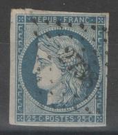 France - YT 4 - 25c Bleu Oblitéré PC 2738 Rouen, Seine Maritime - 1849-1850 Cérès