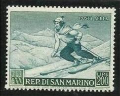 1953 San Marino Saint Marin SPORT I° Sciatrice 200L Verde P. Aerea MNH** Air Mail - Sci