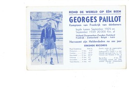 Cpa Insolite - Globetrotter Globe Trotter Georges Paillot France Tour De Monde 1925  Unijambiste Handicap Signature - Manifestations