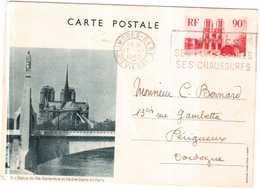 CPA.ENTIER POSTAL.LA STATUE DE Ste GENEVIEVE ET NOTRE DAME DE PARIS - Notre Dame De Paris