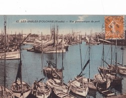 LES SABLES  -  D' OLONNE ,,,,,,  VUE  PANORAMIQUE Du  PORT ,,,,VOYAGE  1928,,,,,COLORISEE,,,, - Sables D'Olonne