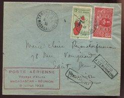 Madagascar Lettre Lot 78- - 0429B -   Poste Aérienne Voyéage D' étude - Madagascar - Réunion 8 Juillet 1938 - Madagascar (1889-1960)