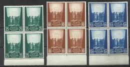 VATICANO VATIKAN VATICAN 1942 PRO PRIGIONIERI 1 SERIE COMPLETA PRISONERS COMPLETE SET QUARTINA BLOCK MNH - Unused Stamps