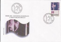 71127- ILIE ILASCU, HUMAN RIGHTS CONVENTION, COVER FDC, 2000, ROMANIA - Beroemde Personen