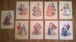 Lot De 9 Cartes Postales Anciennes Dessins De RENAUDIN Costumes Sous Le Regne De ..  /1 - Histoire