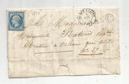 Lettre , 1863 , SY DYE S LOIRE , Loir Et Cher , 3574 , Orleans , 3 Scans - Marcophilie (Lettres)