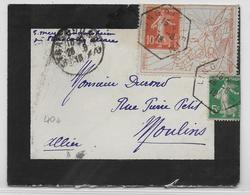 """1919 - SEMEUSE Sur PORTE TIMBRE """"VICTOIRE Des ALLIES"""" Sur ENVELOPPE De LINGOLSHEIM (ALSACE) CACHET HEXAGONAL - Marcophilie (Lettres)"""