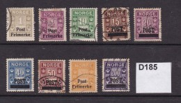 Norway 1929 Postage Due Stamps Overprinted For Postal Use . 9 Values - Gebraucht
