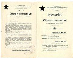 ESPERANTO  CONGRES DE VILLENEUVE SUR LOT  Penne Peyragude  MAI 1910  -  2 DEPLIANTS - France
