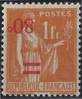 Type Paix N° 359i ** 80 C Sur 1fr Orange Surcharge Renversé Superbe Et Rare ! Signé Brun Et Baudot - Variedades Y Curiosidades