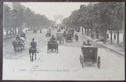 Paris N°4 - L'Arc De Triomphe Et Les Champs élysées - Carte Très Animée (fiacres) Circulée En 1904 - France