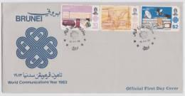 Brunei 1983 FDC + Broucher, World Communication Year, Letterbox Telecom, Antenna, Satellite, Van, Television, Etc., - Brunei (1984-...)
