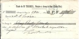 CHEQUE . ARNAY LE DUC . 1872 - Chèques & Chèques De Voyage