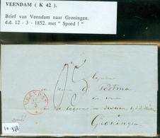 HANDGESCHREVEN BRIEF SPOED Uit 1852 Gelopen Van VEENDAM Naar GRONINGEN (10.978) - Pays-Bas