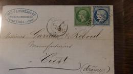 07.05.18-LAC De Tonnerre (yonne) Tarif De Sep 71,n°20  Et N°37  Passe Au Verso - Postmark Collection (Covers)