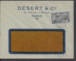 """FR  -1940 """"Désert & Cie Paris"""" Affr. 70 Ct. Languedocienne N° 448 Sur Enveloppe à Fenêtre - Cote 23 € - B/TB - - Marcophilie (Lettres)"""