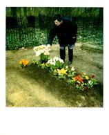 Photo Polaroid Originale D'une Femme Venant Se Recueillir Sur Une Tombe - Mortem - Tombe Fleurie Vers 1980 - Personnes Anonymes